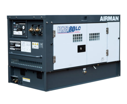 AIRMAN 80CFM BOX-TYPE AFTERCOOLED PORTABLE DIESEL COMPRESSOR C/W LEAK GUARD PDS80LC-5C5