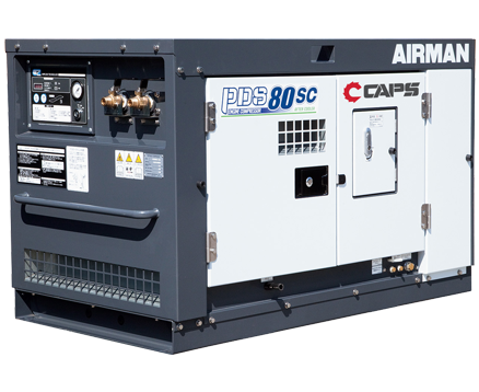AIRMAN 80CFM BOX-TYPE AFTERCOOLED PORTABLE DIESEL COMPRESSOR PDS80SC-5C5